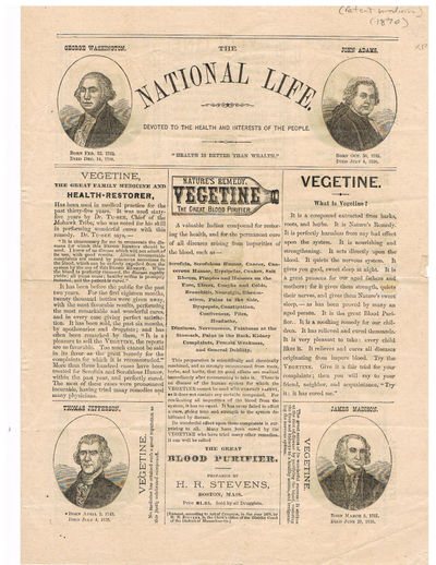 VEGETINE: Nature's Remedy. The Great Blood Purifier. (In The National Life: Devoted to the Health and Interests of the People), Stevens, Henry R