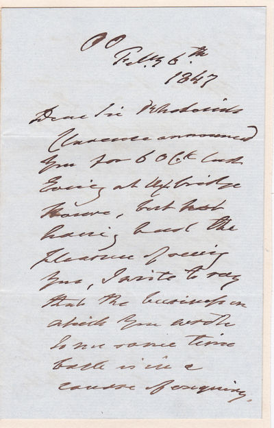 AUTOGRAPH LETTER SIGNED BY BRITISH CAVALRY COMMANDER HENRY PAGET, 1ST MARQUESS OF ANGELSEY., Paget, Henry, 1st Marquess of Anglesey. (1768-1854). British army officer and politician. Cavalry officer in the Peninsula War and at Waterloo.
