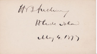 SIGNATURE ON A CARD OF THE 21ST GOVERNOR OF RHODE ISLAND AND PRESIDENT PRO TEMPORE OF THE SENATE HENRY B. ANTHONY., Anthony, Henry B. (1815-1884). Newsman, 21st Governor of Rhode Island, and President  pro tempore of the U.S. Senate.