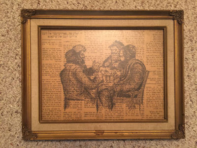 Original Penned Art Of Four Rabbis Playing Cards Drawn Over A Yiddish Newspaper The Daily Forward ORIGINAL WORK Framed, Artist Drawn