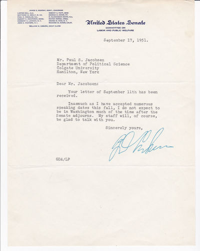 TYPED LETTER SIGNED BY VERMONT SENATOR GEORGE AIKEN., Aiken, George D. (1892-1984). Vermont Governor (1937-41) and Senator from Vermont (1941-1975).