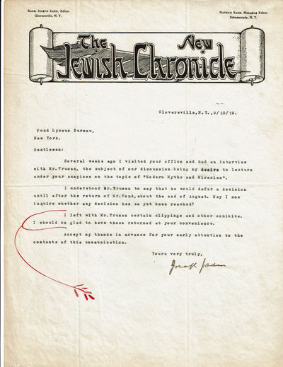TWO TYPED LETTERS SIGNED BY ZIONIST AND FORT WORTH, TEXAS RABBI JOSEPH JASIN., Jasin, Rabbi Joseph. (1883-1968). Rabbi of the Fort Worth Congregation Beth-El (1904-1908).