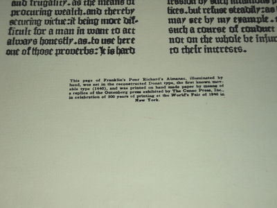 [ILLUMINATED BROADSIDE]: POOR RICHARD'S ALMANAC AND THE GAZETTE ARE TO-DAY THE MOST FAMOUS OF THIS TYPE OF PUBLICATIONS [SIC]. IN HIS AUTOBIOGRAPHY FRANKLIN SAYS, (Franklin, Benjamin)