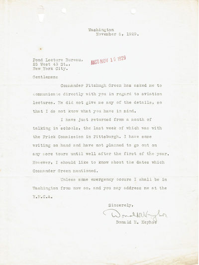 TYPED LETTER SIGNED BY NAVAL AVIATOR AND UFO RESEARCHER DONALD KEYHOE ABOUT PROSPECTIVE AVIATION LECTURES., Keyhoe, Donald Edward. (1897-1988). American Marine Corps naval aviator, author and tour manager of aviation pioneers, including Charles Lindbergh. Leading UFO researcher in the 1950s and '60s.