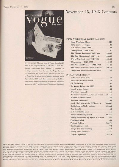 Image for Vogue Magazine, November 15, 1943 50 years that vogue has seen