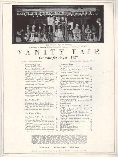 Image for Vanity Fair Magazine, August, 1927