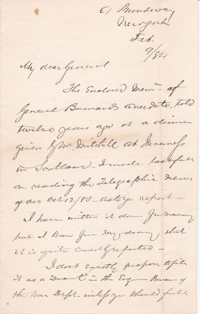 AUTOGRAPH LETTER TO GENERAL HORATIO WRIGHT SIGNED BY AMERICAN LAWYER SIMON STEVENS., Stevens, Simon. (1825-1894). Lawyer known for his expertise in riparian water rights.