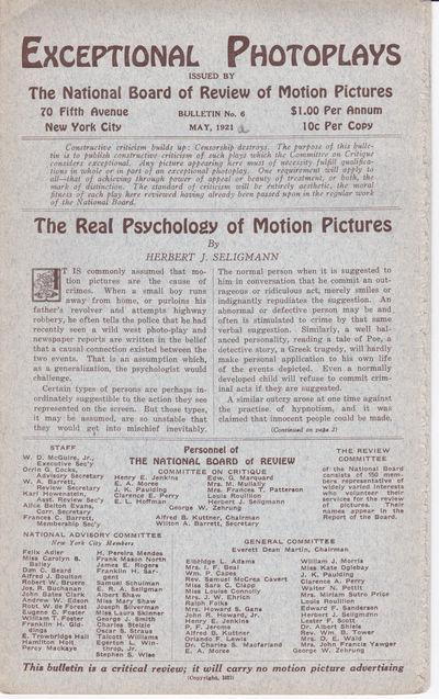 EXCEPTIONAL PHOTOPLAYS. Bulletin No. 6. May, 1921., (Gance, Abel). Seligmann, Herbert J.; et al.