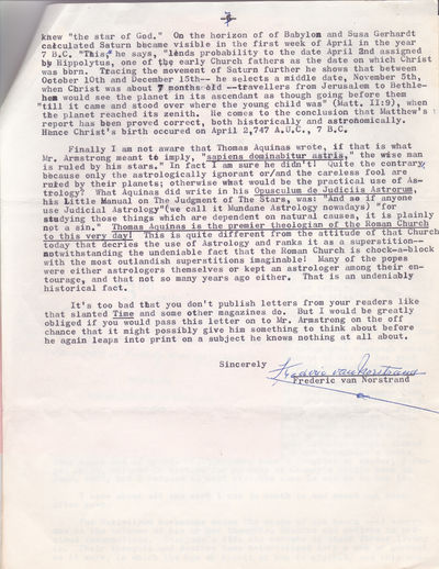 A 6-PAGE TYPED LETTER SIGNED TO THE SATURDAY EVENING POST in defense of Astrology by the AMERICAN ASTROLOGER FREDERIC VAN NORSTRAND., Van Norstrand, Frederic.