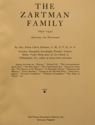 Image for Zartman Family 1692 - 1942.  First printing of the Revised and Enlarged  Edition.