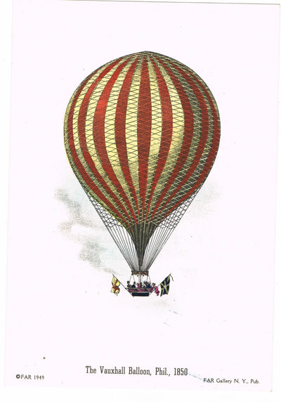 "[BALLOONING]: A LOT OF 4 BRIGHT HAND-COLORED LITHOGRAPHS DEPICTING NINETEENTH CENTURY BALLOONING: ""DESCENT NEAR PHILADELPHIA, PHIL., 1850""; ""THE VAUXHALL BALLOON, PHIL., 1850""; ""DESCENT NEAR EASTON, PENNSYLVANIA""; AND 'MR. COCKING'S PARACHUTE, PHIL., 1850"", (FAR Gallery)"