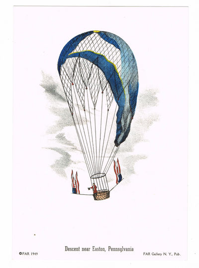 """[BALLOONING]: A LOT OF 4 BRIGHT HAND-COLORED LITHOGRAPHS DEPICTING NINETEENTH CENTURY BALLOONING: """"DESCENT NEAR PHILADELPHIA, PHIL., 1850""""; """"THE VAUXHALL BALLOON, PHIL., 1850""""; """"DESCENT NEAR EASTON, PENNSYLVANIA""""; AND 'MR. COCKING'S PARACHUTE, PHIL., 1850"""", (FAR Gallery)"""
