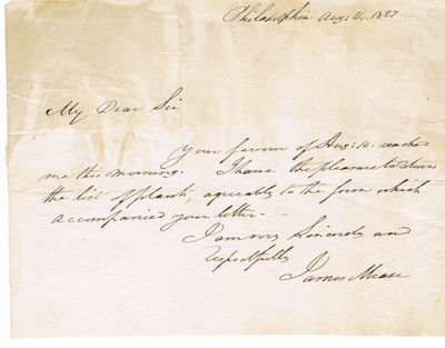 AUTOGRAPH NOTE SIGNED BY JAMES MEASE REGARDING A LIST OF PLANTS, Mease, James (1771-1846). Philadelphia physician who published articles contributing to medical knowledge