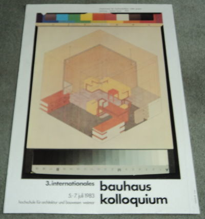 3. INTERNATIONALES BAUHAUS KOLLOQUIUM  5-7 JULI 1983. Original poster for the 3rd International Bauhaus Colloquium designed by Werner Nerlich and illustrated with Herbert Bayer's architectural drawing of Walter Gropius' office, (Gropius, Walter; Bayer, Herbert). Nerlich, Werner