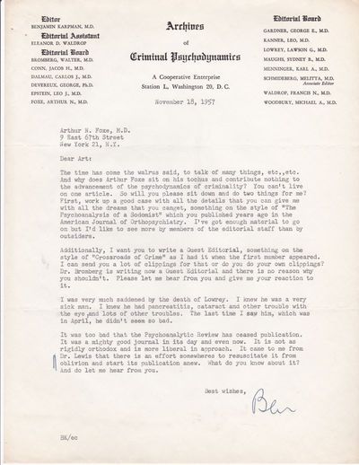TYPED LETTER TO PSYCHIATRIST AND CRIMINOLOGY EXPERT ARTHUR N. FOXE SIGNED BY PSYCHIATRIST BENJAMIN KARPMAN, EDITOR OF ARCHIVES OF CRIMINAL PSYCHODYNAMICS., Karpman, Benjamin, M.D. (1886-1962. American psychiatrist who was critical of the treatment of criminals by the law and by medicine.