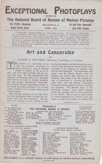 EXCEPTIONAL PHOTOPLAYS. Bulletin No. 5. April, 1921., (Lubitsch, Ernst). Kuttner, Alfred B.; Chairman, Committee on Critique.