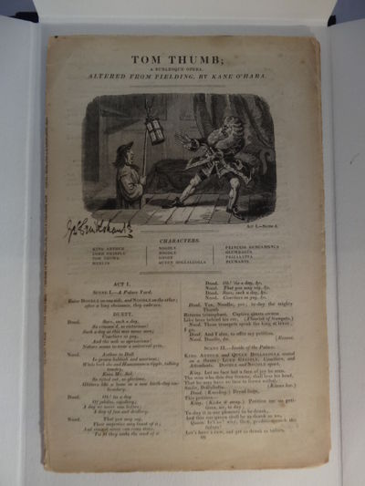 Image for Tom Thumb. A Burlesque Opera.  Altered by Fielding by Kane O'Hara.  The  London Stage. Signed by Cruikshank. Bound together with The Tobacconist: A  Farce in two Acts, as altered from Ben Jonson, by Francis Gentleman