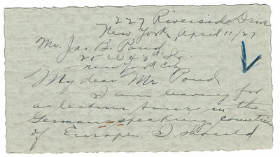 Image for AUTOGRAPH LETTER SIGNED BY CHILDREN'S AUTHOR AND MONTESSORI EDUCATOR RITA KISSIN ASKING JAMES B. POND IF GERMAN LECTURE AGENTS HAVE NEW YORK REPRESENTATIVES.