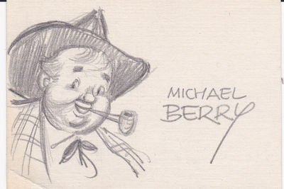 "AN ORIGINAL PENCIL SKETCH SIGNED by the CARTOONIST MICHAEL BERRY, best known for his ""cartoon girls"" illustrations in major periodicals of the period., Berry, Michael (born 1907). Cartoonist, known for his cartoon girls in Esquire, The New Yorker, Playboy, etc."