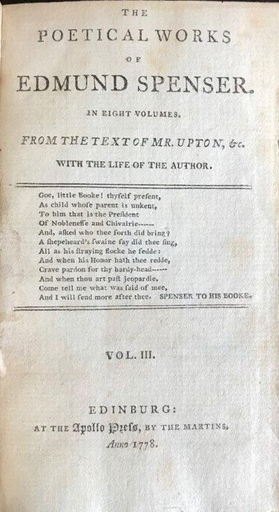 Image for The Poetical Works of Edmund Spenser. In eight volumes. From the text of Mr. Upton, &c. Vol. III. [Containing his Faery Queene from Mr. Upton's text].