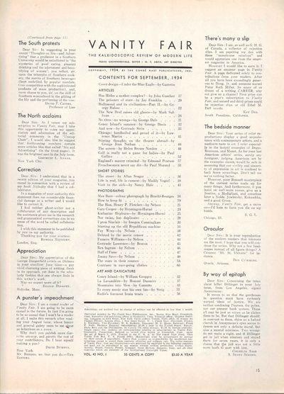 Image for Vanity Fair Magazine, September, 1934