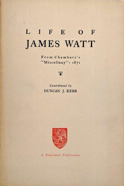 "Image for Life of James Watt. From Chambers's ""Miscellany"": 1871. Contributed by Duncan J. Kerr."