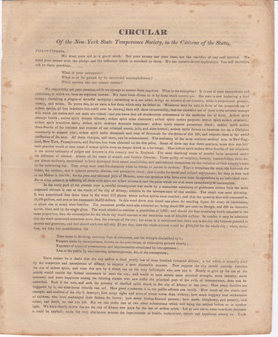 CIRCULAR OF THE NEW-YORK STATE TEMPERANCE SOCIETY, TO THE CITIZENS OF THE STATE., (New York State Temperance Society).