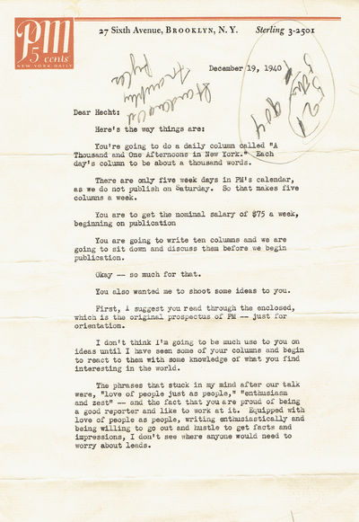 Image for TYPED LETTER SIGNED by RALPH INGERSOLL HIRING BEN HECHT to WRITE A COLUMN FOR PM MAGAZINE.