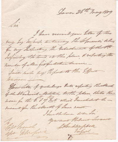 "AUTOGRAPH LETTER SIGNED BY THE 17 YEAR OLD BOY SOLDIER WHO ACHIEVED FAME FOR HIS ""THIN RED LINE"" SHATTERING THE RUSSIAN CAVALRY CHARGE AT THE CRIMEAN WAR BATTLE OF BALAKLAVA., Campbell, Field Marshall Colin, 1st Baron Clyde (1792-1863)."