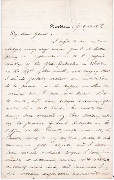 AUTOGRAPH LETTER SIGNED BY AMERICAN EDUCATOR AND CLERGYMAN TIMOTHY DWIGHT V, THE FUTURE PRESIDENT OF YALE COLLEGE., Dwight V, Timothy. (1828-1916). American educator and clergyman, elected president of Yale College in 1886.