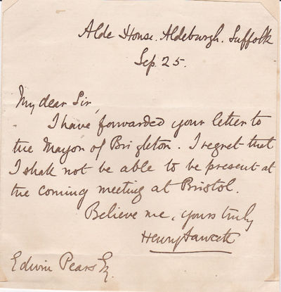 AUTOGRAPH LETTER SIGNED by HENRY FAWCETT expressing his regrets that he can't attend the meeting of the National Association for the Promotion of Social Science., Fawcett, Henry (1833-1884). British economist and satesman.