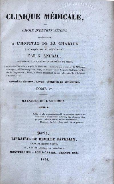 Cours de Pathologie Interne [Vol. II]., ANDRAL, Gabriel (1797-1876).