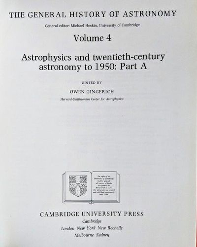 Image for Astrophysics and Twentieth-Century Astronomy to 1950. Part A.