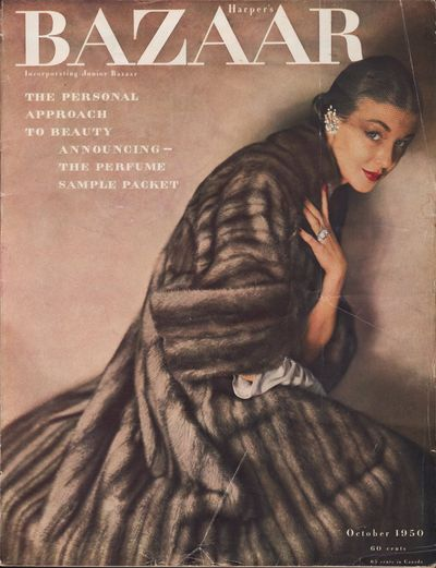"""Image for Harper's Bazaar, October 1950 Bolte's """"I Meet Edmund Lowe""""; Hale's """"All  Girls Together Again""""; Goyen's """"The Storm Doll""""; Tracy's """"A Blossom  Viewing""""; Heilbron's """"The Widow and the Will""""; Stalling's  """"Paris for a  Campus""""; Wright's Poem; Fain's """"The Neglected Positive"""""""