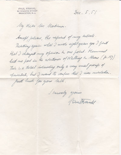 AUTOGRAPH LETTER SIGNED BY PAUL FRANKL CONCERNING HIS EARLIER STATEMENTS REGARDING PETER HEMMEL AND THE WINDOWS OF WALBOURG IN ALSACE., Frankl, Paul. (1878-1962). Influential art historian and important architectural analyst