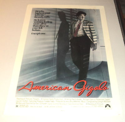 """ORIGINAL MOVIE POSTER FOR THE FILM """"AMERICAN GIGOLO"""" STARRING RICHARD GERE, (Schrader, Paul; Gere, Richard)"""