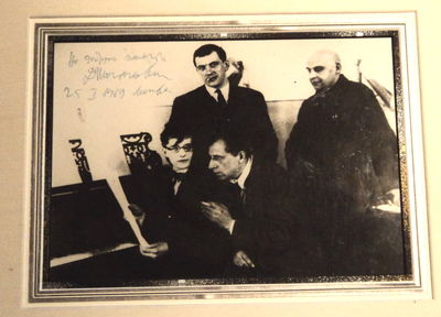 A SIGNIFICANT PHOTOGRAPH SIGNED BY SHOSTAKOVICH. A most famous photograph of this important gathering of Russian artists, each of whom contributed to the play