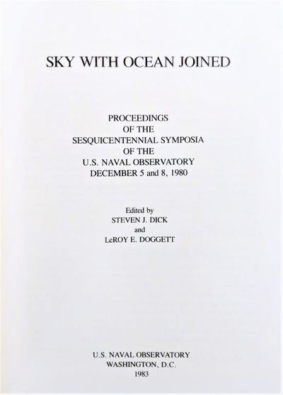 Image for Sky With Ocean Joined. Proceedings of the Sesquicentennial Symposia of the U.S. Naval Observatory, December 5 and 8, 1980.