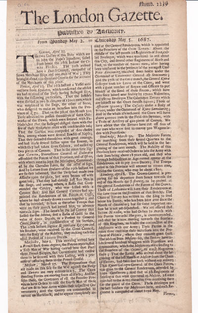THE LONDON GAZETTE.  Published by Authority. From Monday May 2. to Thursday May 5. 1687. Numb. 2239, (The London Gazette)
