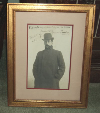 PUCCINI: SUPERB LARGE INSCRIBED & SIGNED CABINET PHOTOGRAPH, SIGNED AND DATED BY THE GREAT ITALIAN OPERA COMPOSER.