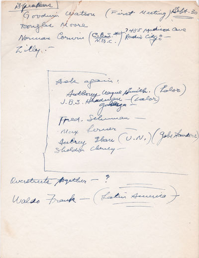 Image for TYPED LETTER TO HAROLD RUGG SIGNED BY MAX LERNER. Together with 2 pages of Rugg's autograph notes on possible speakers for his lecture series.