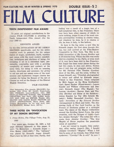 FILM CULTURE no. 48-49 Winter & Spring 1970. Double Issue., (Anger, Kenneth; Belson, Jordan); Frampton, Hollis; Snow, Michael; Ono, Yoko; Vanderbeek, Stan.