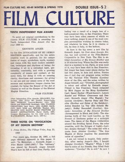 FILM CULTURE no. 48-49 Winter & Spring 1970. Double Issue., (Anger, Kenneth; Belson, Jordan); Frampton, Hollis; Snow, Michael; Ono, Yoko; Vanderbeek, Stan.