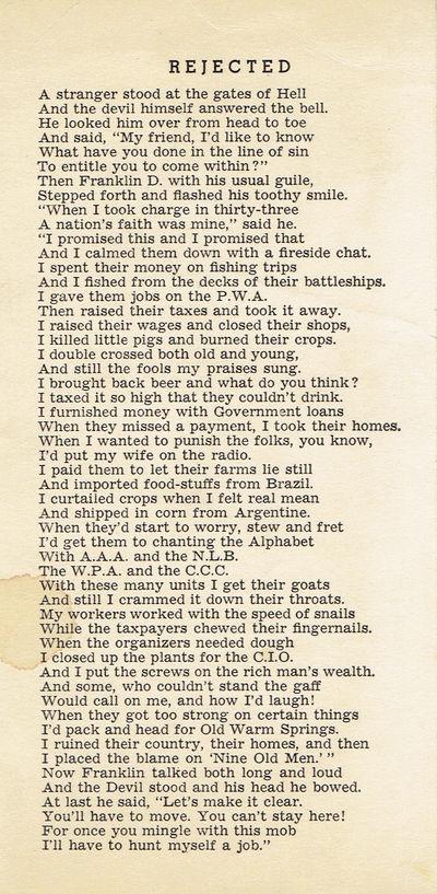 """SCARCE VINTAGE ANTI FRANKLIN ROOSEVELT POEM - """"REJECTED""""., (Roosevelt, Franklin D.)."""