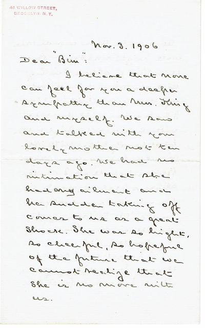 AUTOGRAPH LETTER OF CONDOLENCE TO J. B. POND, JR. ON THE DEATH OF HIS MOTHER SIGNED BY UNION ARMY SOLDIER AND MEDAL OF HONOR RECIPIENT HORATIO  COLLINS KING., King, Horatio Collins (1837-1918). Union Army soldier who received the Medal of Honor for his actions during the Civil War. He was also a lawyer, politician and author.