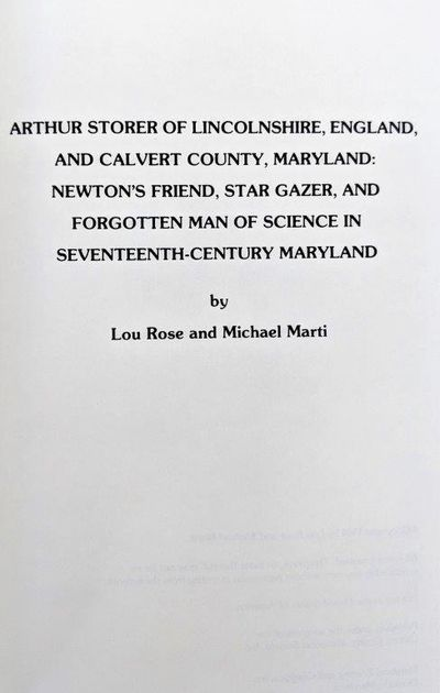 Image for Arthur Storer of Lincolnshire, England, and Calvert County, Maryland: Newton's Friend, Star Gazer, and Forgotten Man of Science in Seventeenth-Century Maryland.