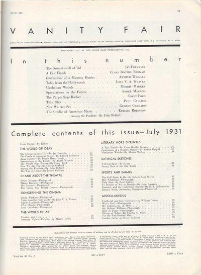 Image for Vanity Fair Magazine, July, 1931