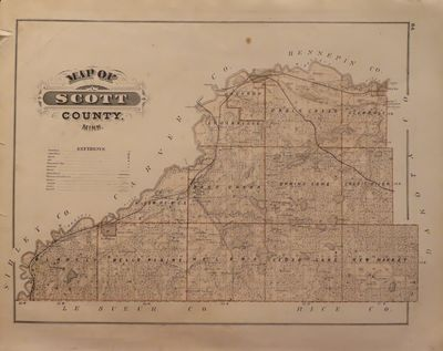 Image for Map of Scott County; Map of Shakopee - from Illustrated Historical Atlas of the State of Minnesota