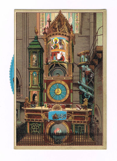 "A SUPERB COLOR POSTCARD OF THE SCHWILGUE ASTRONOMICAL CLOCK IN THE STRASBOURG CATHEDRAL, WITH A WONDERFUL MOVEABLE WHEEL WHEREBY THE SAINTS CAN MOVE N A PROCESSION WITHIN THE TOP WINDOW OF THE CLOCK, ENTITLED ""L'HORLOGE ASTRONOMIQUE DE LA CATHEDRALE."", (Schwilgue)"
