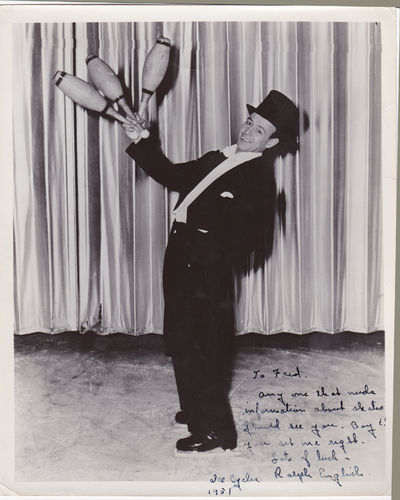 PHOTOGRAPH INSCRIBED AND SIGNED BY ICE-SKATER JUGGLER & MAGICIAN RALPH ENGLISH., English, Ralph. Juggler, magician, vaudeville performer [1930s-1950s]. He performed his routines on ice skates.